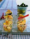 Potato salad in bowls on tray of ice Stock Photo - Premium Royalty-Free, Artist: Masterfile, Code: 614-06002316
