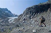 extreme terrain - Male climber near Chickamin Glacier, Ptarmigan Traverse, North Cascades, Washington USA Stock Photo - Premium Royalty-Freenull, Code: 614-06002330