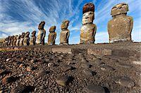 Moai statues, ahu tongariki, easter island, polynesia Stock Photo - Premium Royalty-Freenull, Code: 614-06002485