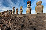 Moai statues, ahu tongariki, easter island, polynesia Stock Photo - Premium Royalty-Free, Artist: Water Rights, Code: 614-06002485