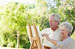 Man and a woman painting a picture in a park Stock Photo - Premium Royalty-Free, Artist: Blend Images, Code: 6109-06004809