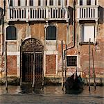 Gondola moored on Venice building exterior. Stock Photo - Premium Rights-Managed, Artist: Arcaid, Code: 845-06007947