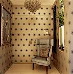 Entrance hall with patterned wallpaper concealing front door, Portobello, London, UK. Designed by Designed by Stephen Ryan, Photograph Stock Photo - Premium Rights-Managed, Artist: Arcaid, Code: 845-06008071