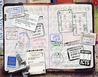 stamped - Passport with Stamps Stock Photo - Premium Royalty-Freenull, Code: 600-06009105