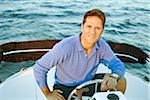 Portrait of Man on Boat Stock Photo - Premium Rights-Managed, Artist: Kevin Dodge, Code: 700-06009229