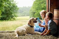 Children Reading in Barn with Dog Stock Photo - Premium Rights-Managednull, Code: 700-06009231