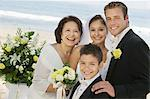 Bride and Groom with mother and brother, outdoors, (portrait) Stock Photo - Premium Royalty-Free, Artist: Kevin Dodge, Code: 693-06013770