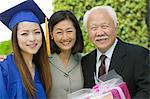 Graduate with mother and grandfather outside, portrait Stock Photo - Premium Royalty-Free, Artist: Siephoto, Code: 693-06014168