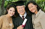 Senior Graduate with granddaughter and daughter outside, portrait Stock Photo - Premium Royalty-Free, Artist: Blend Images, Code: 693-06014169