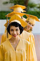 Graduates in line for degree outside, elevated view Stock Photo - Premium Royalty-Freenull, Code: 693-06014226