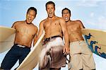 Three surfers standing with surfboards, making faces, outdoors, low angle view Stock Photo - Premium Royalty-Free, Artist: CulturaRM, Code: 693-06014621