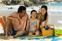 Parents with daughter (7-9) having picnic on beach Stock Photo - Premium Royalty-Freenull, Code: 693-06014719