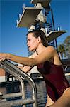Female swimmer exiting pool Stock Photo - Premium Royalty-Free, Artist: Aflo Sport, Code: 693-06015107