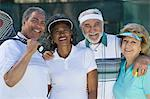 Two couples playing tennis, portrait Stock Photo - Premium Royalty-Free, Artist: Aflo Sport, Code: 693-06016631