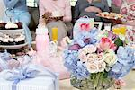 Table of gifts, flowers and cakes at baby shower Stock Photo - Premium Royalty-Freenull, Code: 693-06017148