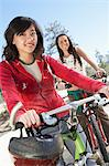 Two Young Women on mountain bikes. Stock Photo - Premium Royalty-Free, Artist: AWL Images, Code: 693-06017501