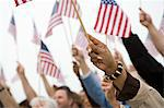 Crowd holding up American flags Stock Photo - Premium Royalty-Free, Artist: Ron Fehling, Code: 693-06017609
