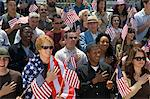 Crowd holding American flags Stock Photo - Premium Royalty-Free, Artist: Water Rights, Code: 693-06017616