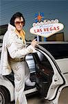 Elvis impersonator getting into limo in Las Vegas, Nevada, USA Stock Photo - Premium Royalty-Free, Artist: Robert Harding Images, Code: 693-06018161