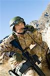Soldier using field phone in mountains Stock Photo - Premium Royalty-Free, Artist: Robert Harding Images, Code: 693-06018185