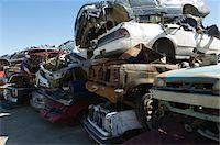 Stacked cars in junkyard Stock Photo - Premium Royalty-Freenull, Code: 693-06019865