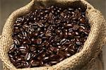 Coffee beans in sack, close-up Stock Photo - Premium Royalty-Free, Artist: Blend Images, Code: 693-06020273