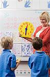 Teacher Teaching Kids to Tell Time Stock Photo - Premium Royalty-Free, Artist: CulturaRM, Code: 693-06020582