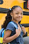 School Girl by School Bus Stock Photo - Premium Royalty-Free, Artist: CulturaRM, Code: 693-06020760