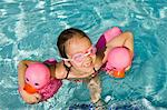Girl Floating Using Two Pink Rubber Ducks Stock Photo - Premium Royalty-Free, Artist: Blend Images, Code: 693-06020763