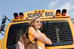 Elementary Student Standing by School Bus Stock Photo - Premium Royalty-Free, Artist: Westend61, Code: 693-06020873