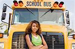 Teenager Girl by School Bus Stock Photo - Premium Royalty-Free, Artist: I Dream Stock, Code: 693-06020879
