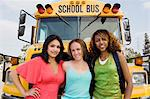 Teenage Girls by School Bus Stock Photo - Premium Royalty-Free, Artist: CulturaRM, Code: 693-06020883