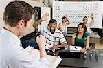 Teacher Calling on Student in Science Class Stock Photo - Premium Royalty-Free, Artist: Oriental Touch, Code: 693-06021093