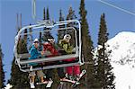 Three Skiers on Chair Lift Stock Photo - Premium Royalty-Free, Artist: Ron Fehling, Code: 693-06021234