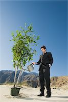 Businessman Watering Tree in the Desert Stock Photo - Premium Royalty-Freenull, Code: 693-06021777