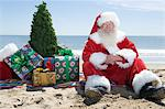 Father Christmas sits on the beach with a tree and presents Stock Photo - Premium Royalty-Free, Artist: Robert Harding Images, Code: 693-06022068