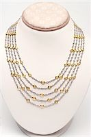 expensive jewelry - 18k white and yellow gold five strand necklace with 44 carats of diamonds Stock Photo - Premium Royalty-Freenull, Code: 693-06022190