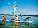 Woman on paddle board with kids and dog Stock Photo - Premium Royalty-Free, Artist: Aflo Relax, Code: 673-06025472
