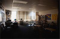 Dark, empty classroom Stock Photo - Premium Royalty-Freenull, Code: 632-06029292
