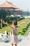 Girl standing on steps overlooking Chiang Kai-shek Memorial Hall, Taipei, Taiwan Stock Photo - Premium Royalty-Free, Artist: Sheltered Images, Code: 632-06029698