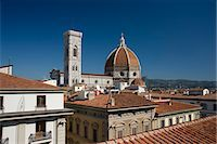 A view over teracotta rooftops to the Duomo and Campanile, Florence, UNESCO World Heritage Site, Tuscany, Italy, Europe Stock Photo - Premium Rights-Managednull, Code: 841-06030325
