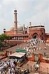 People leaving the Jama Masjid (Friday Mosque) after the Friday Prayers, Old Delhi, Delhi, India, Asia Stock Photo - Premium Rights-Managed, Artist: Robert Harding Images, Code: 841-06031245