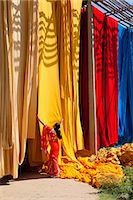 Woman in sari checking the quality of freshly dyed fabric hanging to dry, Sari garment factory, Rajasthan, India, Asia Stock Photo - Premium Rights-Managednull, Code: 841-06031281