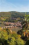 View of the Alte Brucke (Old Bridge), Neckar River Heidelberg Castle and Old Town from the Philosophenweg, Heidelberg, Baden-Wurttemberg, Germany, Europe Stock Photo - Premium Rights-Managed, Artist: Robert Harding Images, Code: 841-06031415