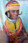 Bonda tribeswoman wearing traditional bead costume with beaded cap, large earrings and metal necklaces at weekly market, Rayagader, Orissa, India, Asia Stock Photo - Premium Rights-Managed, Artist: Robert Harding Images, Code: 841-06031731
