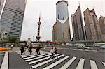 Pedestrian crossing in Pudong, the financial and business centre. Oriental Pearl Tower in centre, Shanghai, China, Asia Stock Photo - Premium Rights-Managed, Artist: Robert Harding Images, Code: 841-06031986