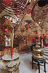 Incense coils hang from the roof of the Man Mo Temple, built in 1847, Sheung Wan, Hong Kong, China, Asia Stock Photo - Premium Rights-Managed, Artist: Robert Harding Images, Code: 841-06031989