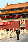 Peoples Armed Police guard with portrait of Mao Zedong, Heavenly Gate entrance to Forbidden City, Beijing, China, Asia Stock Photo - Premium Rights-Managed, Artist: Robert Harding Images, Code: 841-06033089