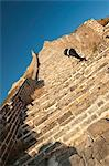 Woman climbing steep steps, Great Wall of China, UNESCO World Heritage Site, Huanghuacheng (Yellow Flower), Wild Wall, Jiuduhe Zhen, Huairou, China, Asia Stock Photo - Premium Rights-Managed, Artist: Robert Harding Images, Code: 841-06033106