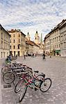 Bicycles parked by the Robba Fountain with the Cathedral of St. Nicholas in the background, Ljubljana, Slovenia, Europe Stock Photo - Premium Rights-Managed, Artist: Robert Harding Images, Code: 841-06033774
